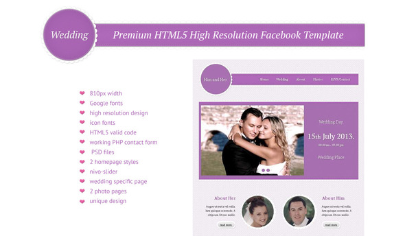 Wedding - HTML5 High Resolution Facebook Template - Events Entertainment