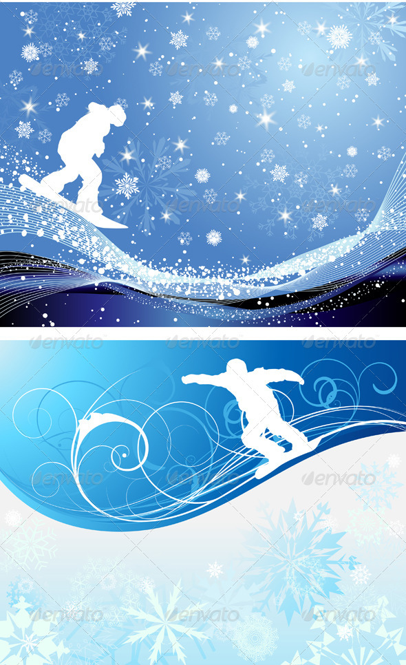GraphicRiver Snowboard Background Set 3494833