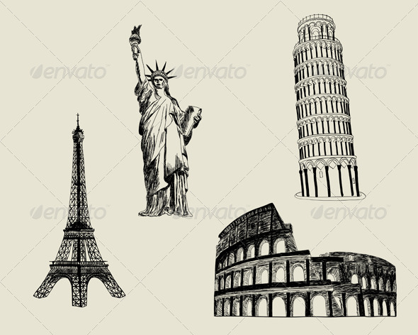 GraphicRiver Sketch Landmark Set 3494826