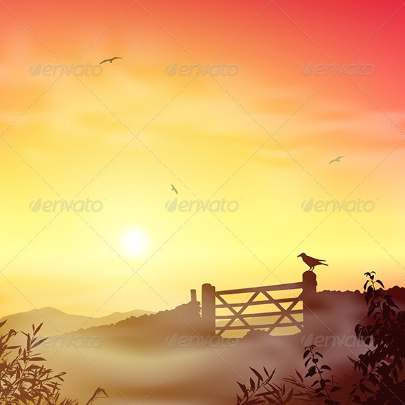 GraphicRiver Misty Morning Landscape 3517056
