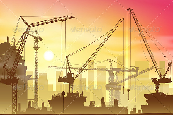 GraphicRiver Tower Cranes 3517143