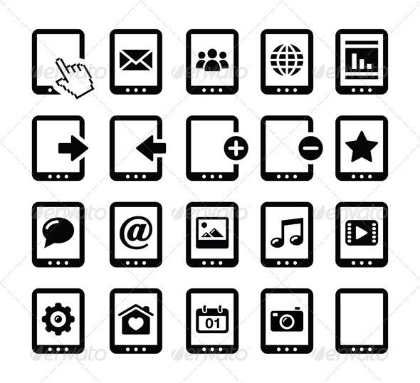 Tablet Black Icons Set