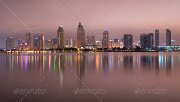 San Diego City Skline Reflection Midnight - Stock Photo - Images