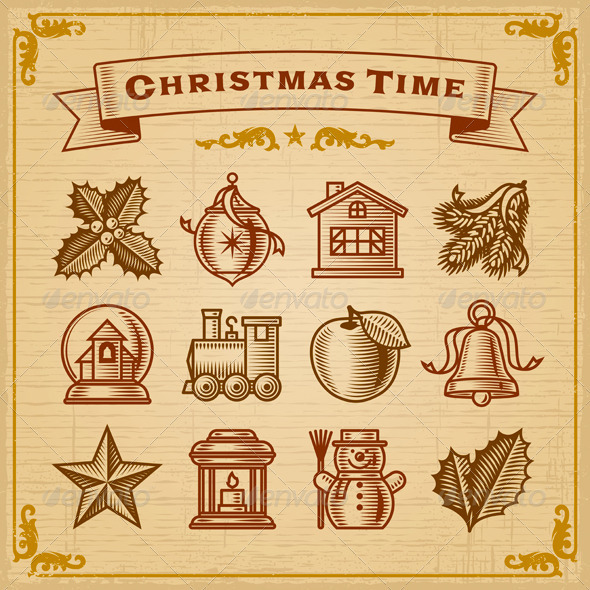 GraphicRiver Vintage Christmas Decorations 3447612