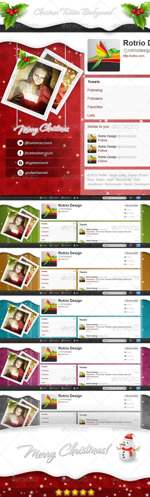 GraphicRiver Christmas Twitter Background 3519376