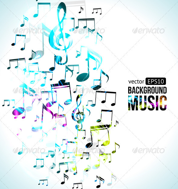 Vector Music Background Note Design - Backgrounds Decorative