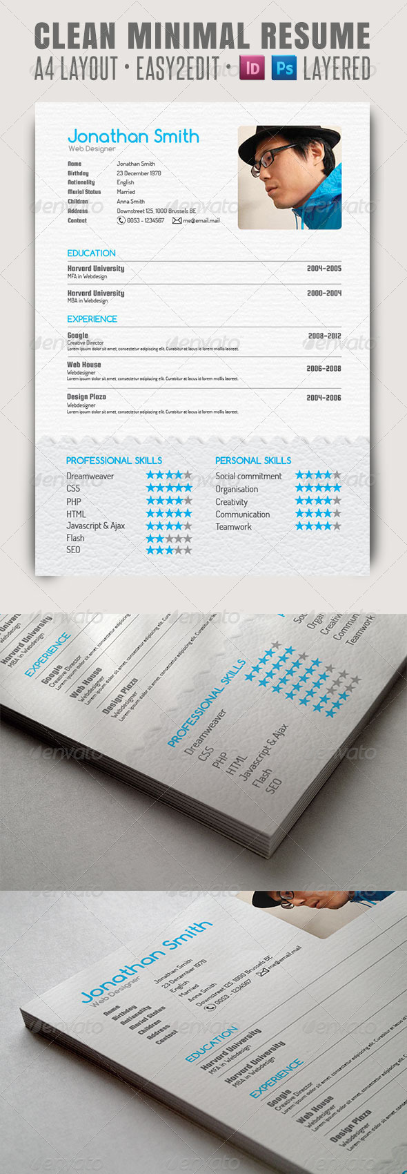 Clean Minimal Resume - Resumes Stationery