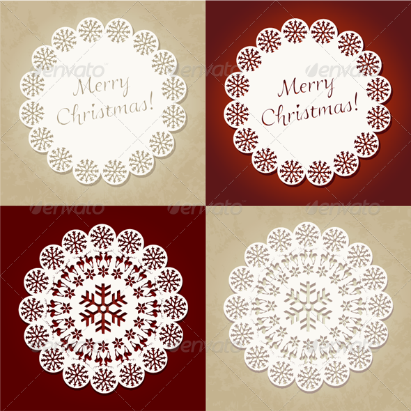 GraphicRiver Merry Christmas Vector Christmas Cards Set 3520273