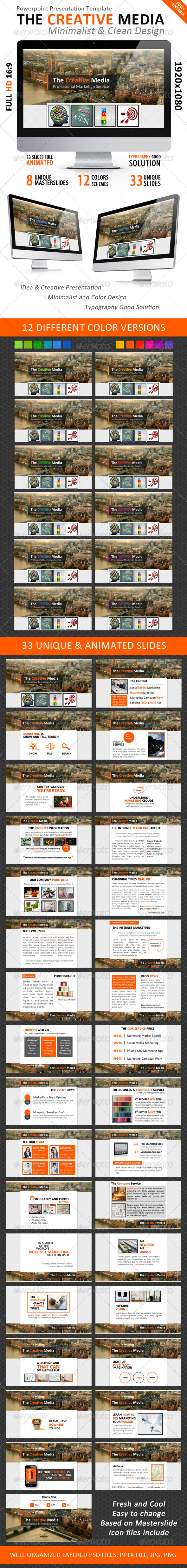 GraphicRiver The Creative Media-Minimalist Powerpoint Template 3433777