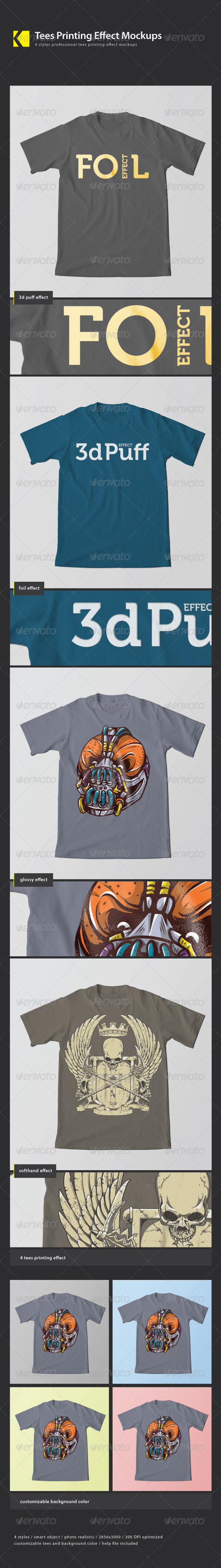 GraphicRiver Tees Printing Effect Mockup 3520291