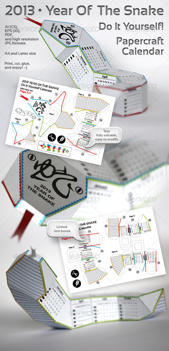 GraphicRiver Snake Of The Year 3D DIY Papercraft Calendar 3520962