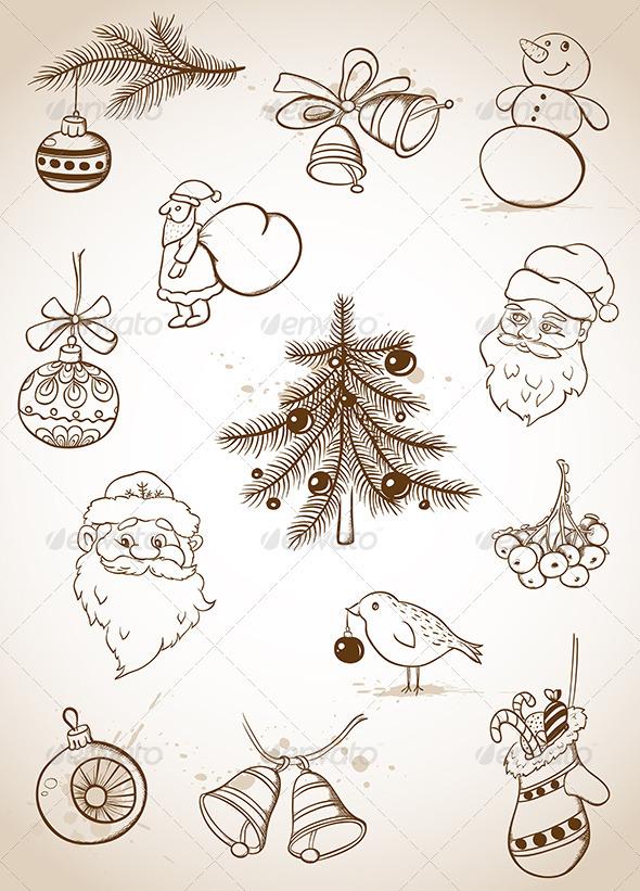 GraphicRiver Doodle Christmas Set 3521045