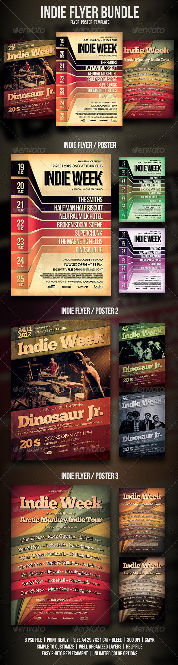 GraphicRiver Indie Flyer Poster Bundle 3521049