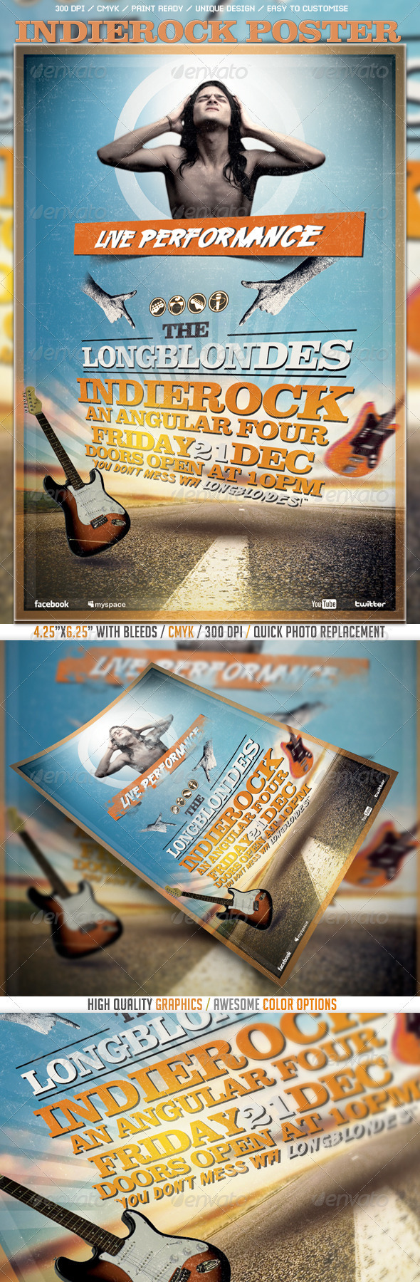 Indierock Poster/Flyer Template - Events Flyers