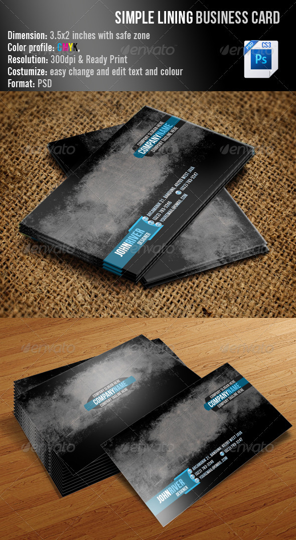 GraphicRiver Simple Lining Business Card 3487189