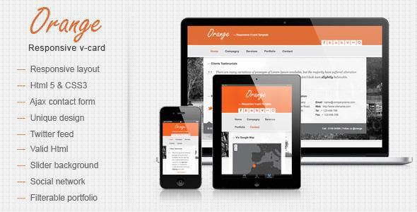 ThemeForest Orange Responsive V-card Template 3524437
