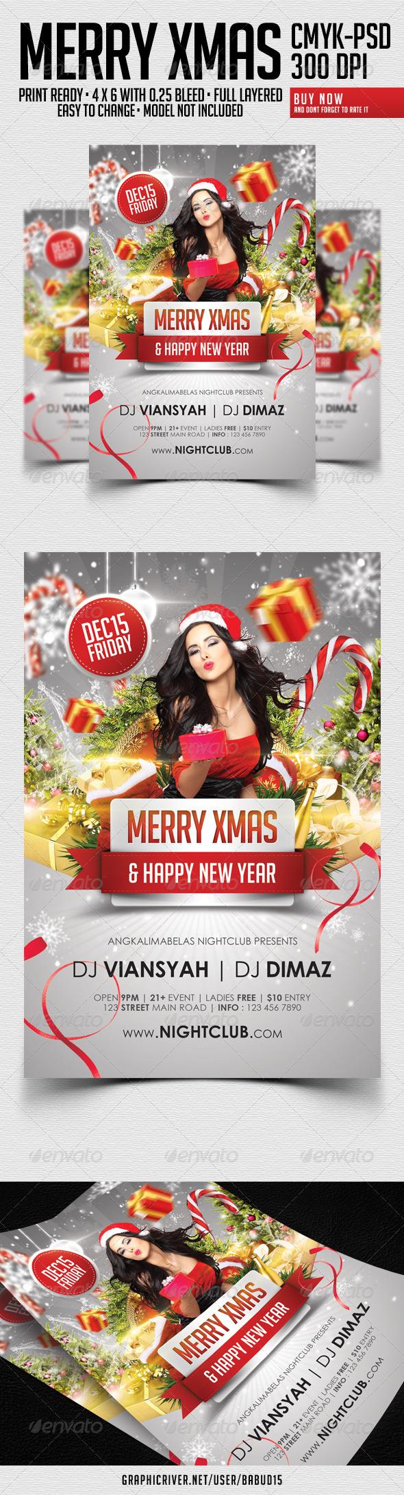 Flyer para Navidad Merry Xmas