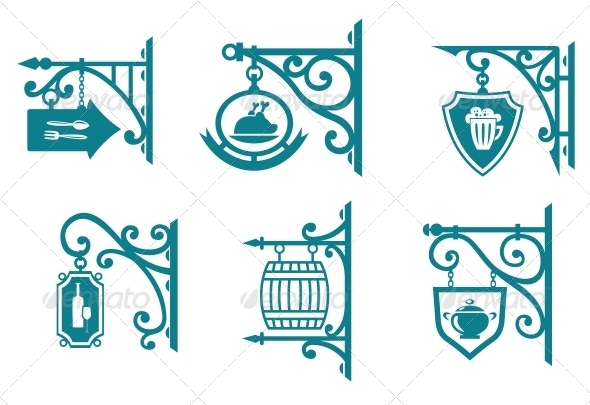 GraphicRiver Vintage Signs of Pubs Taverns and Restaurants 3524508