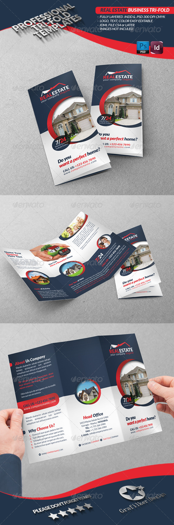 real estate tri fold brochure template - real estate business tri fold graphicriver