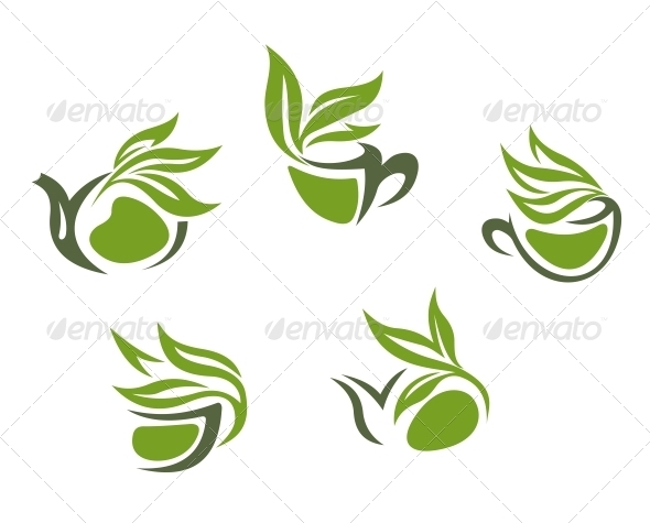 GraphicRiver Green Herbal Tea Symbols 3524624