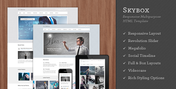 ThemeForest Skybox Responsive Multipurpose HTML Template Site Templates Corporate 3525321