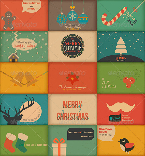 GraphicRiver Collection of Retro Holidays Greeting Cards 3525530