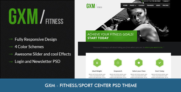 GXM - Gym/Fitness Club PSD Theme - Miscellaneous PSD Templates