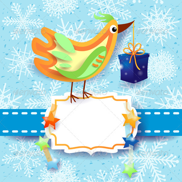 GraphicRiver Christmas Card with Bird 3525584