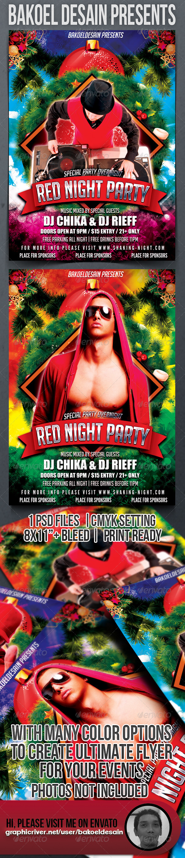 GraphicRiver Red Night Party Flyer 3487634