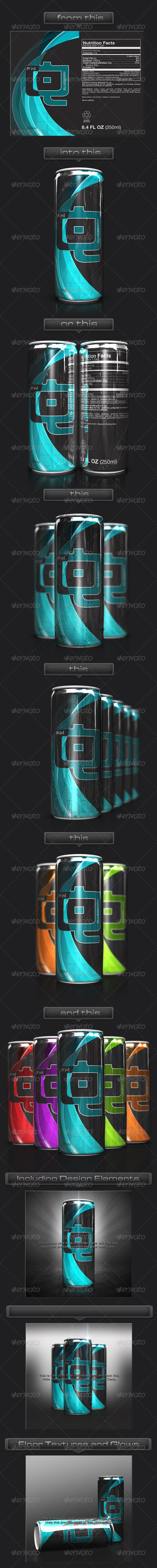GraphicRiver 3D Energy Drink Soda Can Mockup 3526465