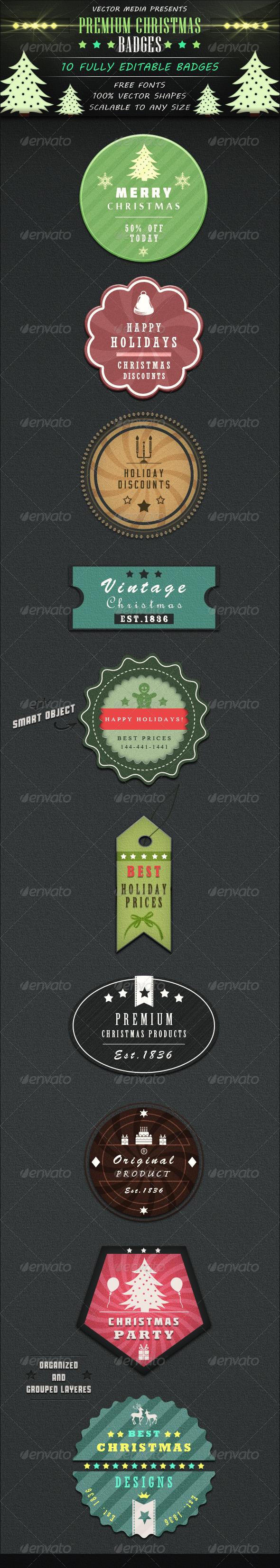 Premium Christmas Badges - Badges & Stickers Web Elements
