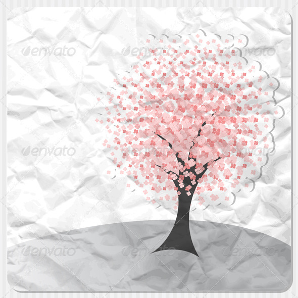 GraphicRiver Pink Flowers Tree 3526527