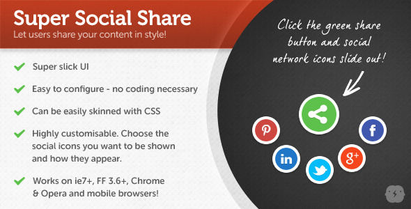 jQuery Super Social Share - CodeCanyon Item for Sale
