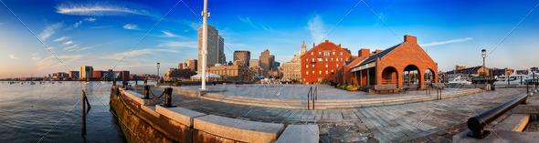 Long Wharf Panorama - Stock Photo - Images