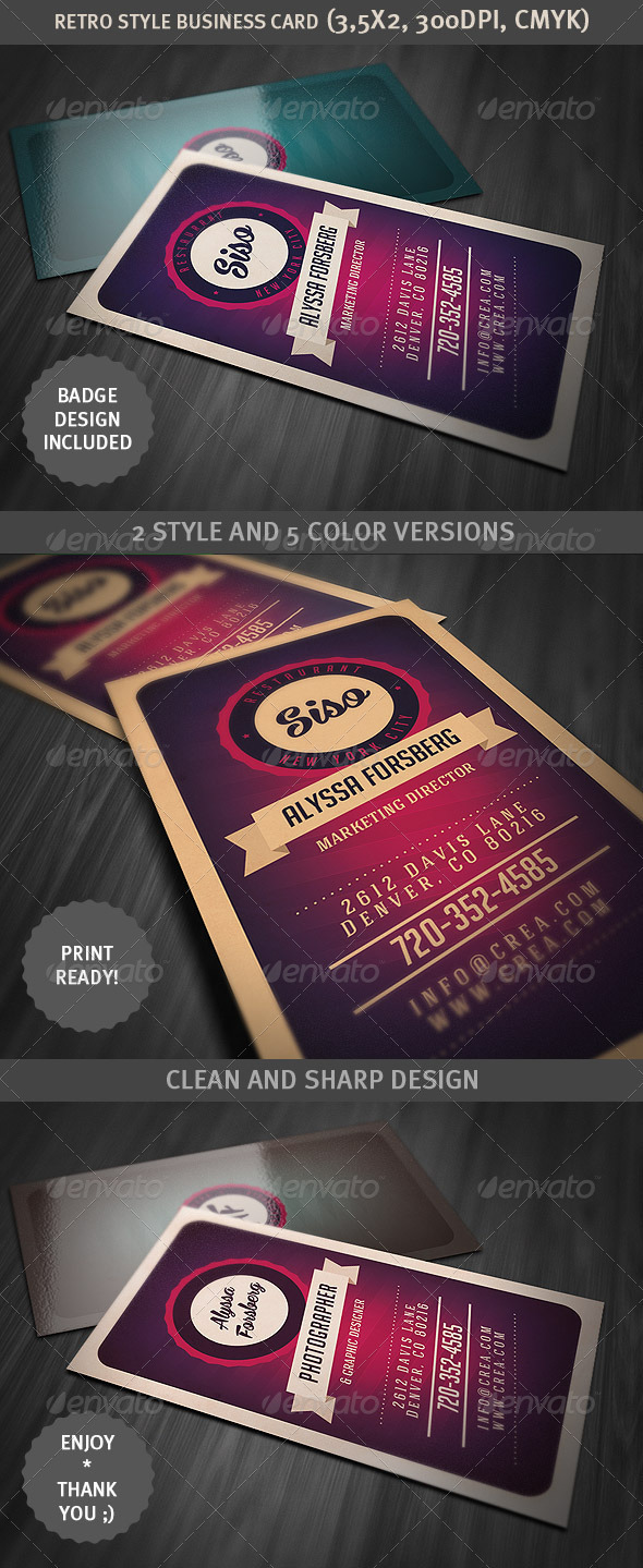 GraphicRiver Retro Style Business Card 3528889