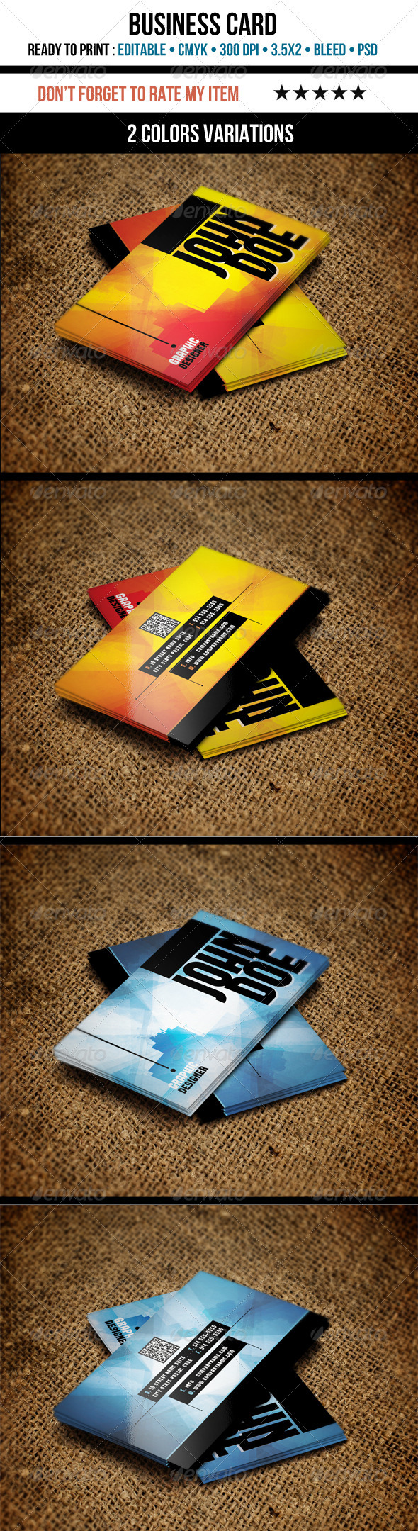 GraphicRiver Grunge Business Cards 3501385