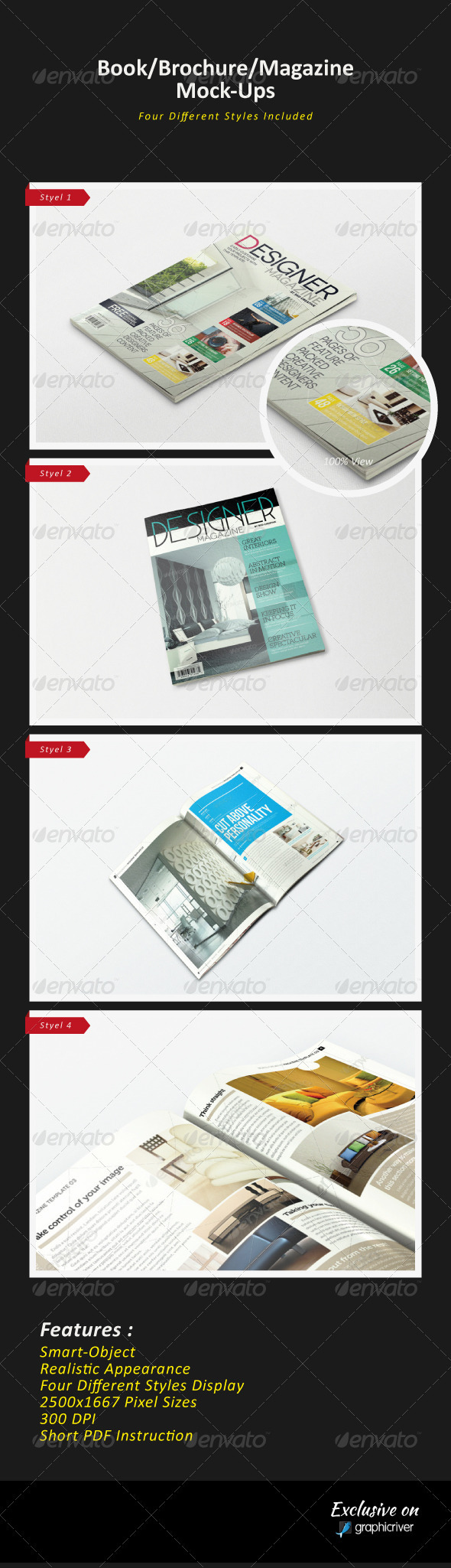 GraphicRiver Brochure Magazine Mock-Ups 3530129