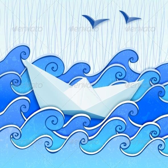 GraphicRiver Paper Boat in the Blue Sea 3530815