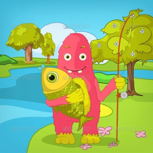 GraphicRiver Funny Monster Fisherman 3531179