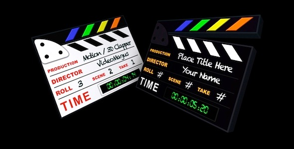 3D Clapperboard Pack of 2
