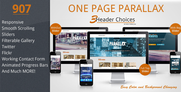ThemeForest 907 Responsive One Page Parallax 3323854