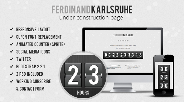 ThemeForest Responsive Animated Under Construction Page 3531391