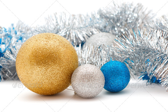 silver and gold Christmas decorations - Stock Photo - Images