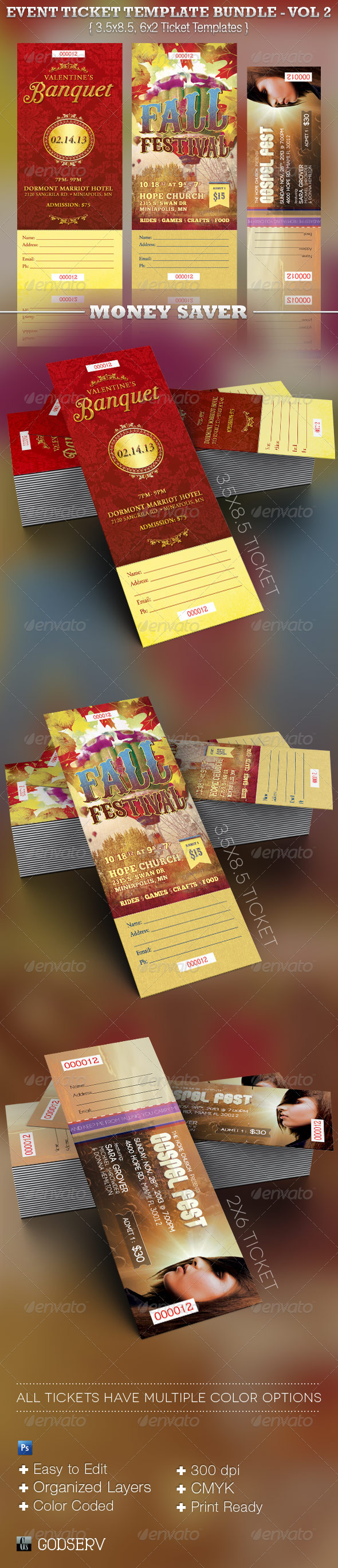 Event Ticket Template Bundle - Volume 2 - Miscellaneous Print Templates
