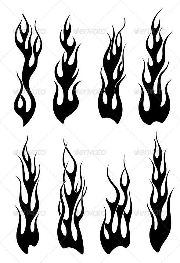GraphicRiver Set of Black Tribal Flames 3531708