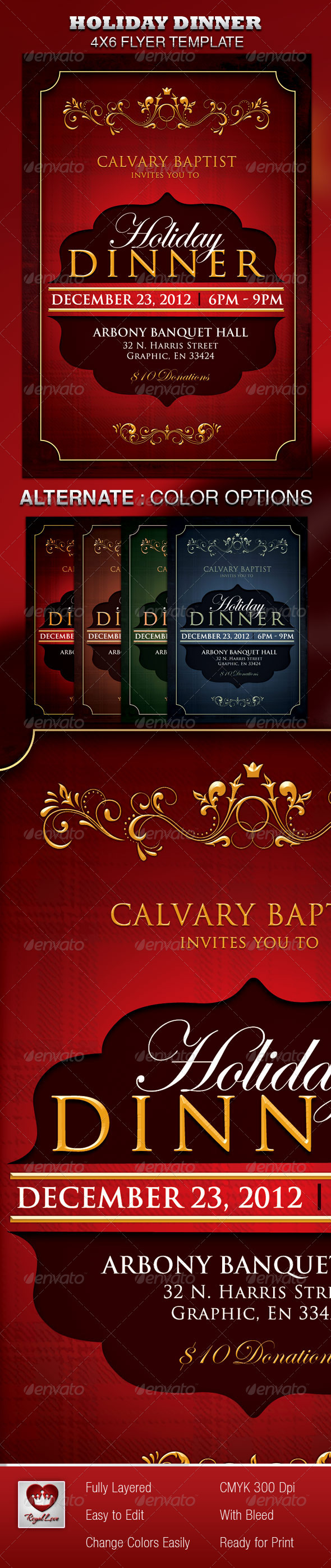 GraphicRiver Holiday Dinner Church Flyer 3532482