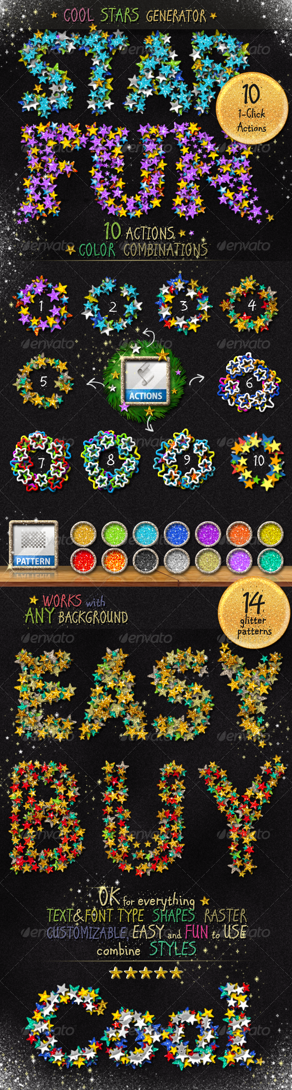 GraphicRiver Stars Glitter Sequins Photoshop Action Generator 3532653