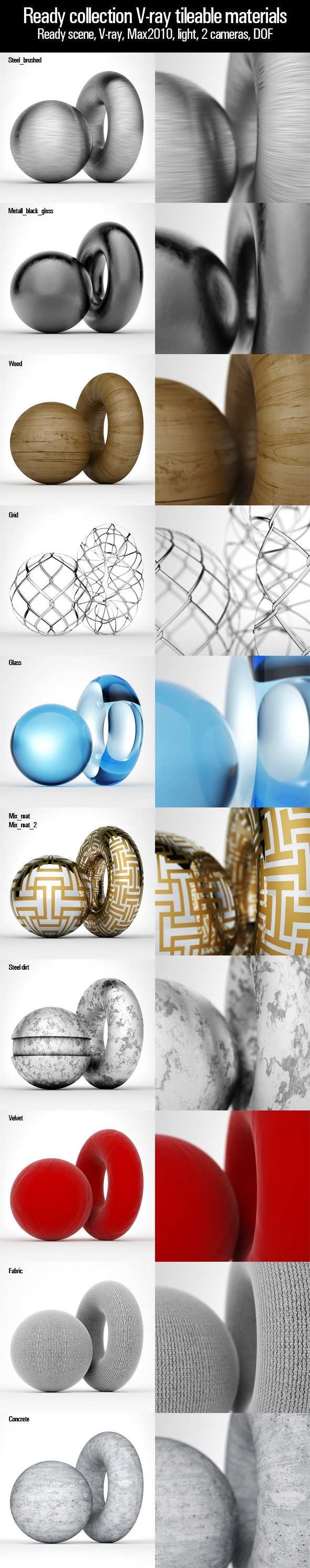 3DOcean Ready collection V-ray tileable materials 3532665