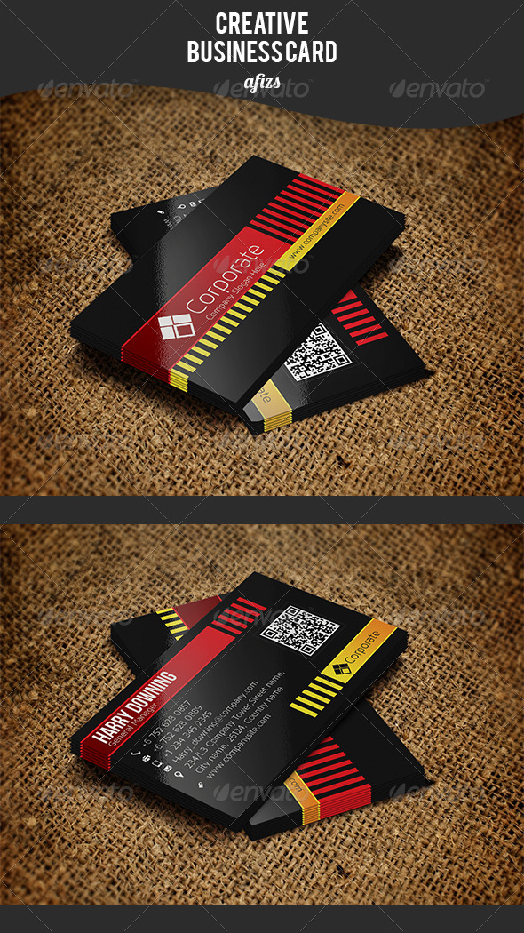 GraphicRiver Black Corporate Business Card 3532703