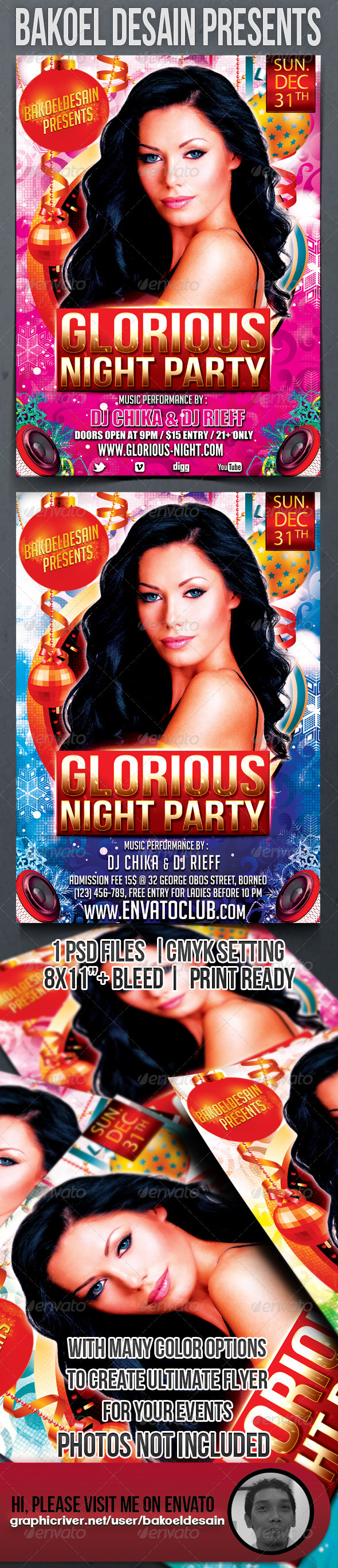 GraphicRiver Glorious Night Party Flyer 3498186
